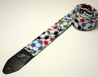 Handmade double padded soccer ball guitar strap