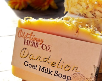 Goat Milk Soap - Dandelion Infused Herbal Soap.  Made from our own fresh goat milk and herbs.