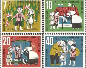 Hans and Gretel - Grimm Fairy Tales - 1961 FRG Stamp - 1 set - 4 Sheets