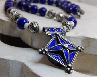 MOROCCAN Blue Enamel 'Boghdad' Silver Cross Amulet; African Goomba Beads From Ghana; OOAK; Blue Prosser Trade Beads; Protection Talisman.
