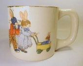 Vintage Child's Cup - Bunny Rabbit Family - Pottery China - Made in Japan - Cute
