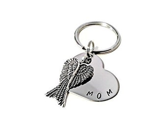 MOM Memorial Keychain, Hand Stamped Key chain for Women or Men with angel wings, sympathy gift, memorial keychain