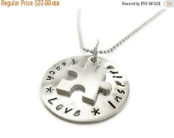 SPRING SALE Autism Teachers necklace, Hand Stamped necklace for teachers, autism necklace, autistic teacher thank you from Moonstone Creatio