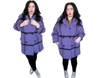 Plus Size Coat / Vintage 1980's Purple Plaid Wool Coat / Size XL / Vintage Coat
