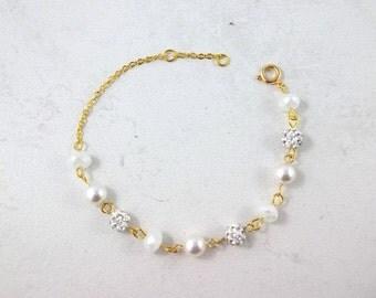 Bridesmaids Swarovski Pearl crystal rhinestone bracelet Bridal Wedding Jewelry gold