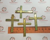 4 pcs per pack 58x42mm Paper cut Cross Patina Gold Finish Lead Free Pewter