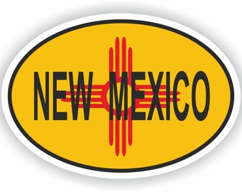 New Mexico USA Country Code Oval Sticker with Flag for Bumper Laptop Book Fridge Helmet ToolBox Door PC Hard Hat Tool Box Locker Truck
