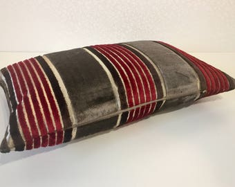 RED & BROWN narrow stripes with wide mocha stripe lumber cushion cover in Osborne and Little salon velvet designer fabric by MoGirl DESIGNS