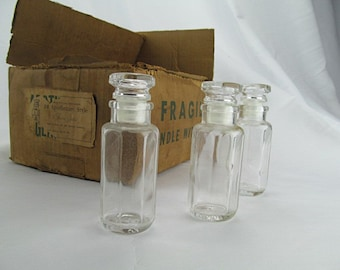 Vintage Spice Bottles Apothecary Jars Apothecary Lot Bottle Collection with Stoppers NOS In Original Box