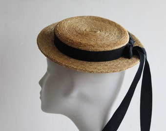 The Coco Monroe Hat - Straw Boater - Fascinator Hat - Vintage Style Hat