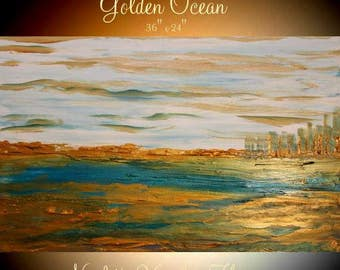 """ORIGINAL 36""""Abstract Acrylic gallery canvas-Contemporary Modern """"Golden Ocean""""painting by Nicolette Vaughan Horner"""