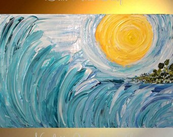 "XL Original Modern 36"" palette knife signature thick impasto style painting on gallery canvas""Sun and Surf"", by Nicolette Vaughan Horner"