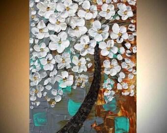 "SALE 24"" Original Modern palette knife impasto oil painting Weeping White Cherry Tree,grey,white,rust,seafoam by Nicolette Vaughan Horner"
