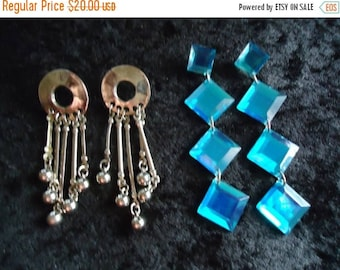 On Sale Vintage Long 1970's Dangle Earrings Retro Collectible Costume Jewelry