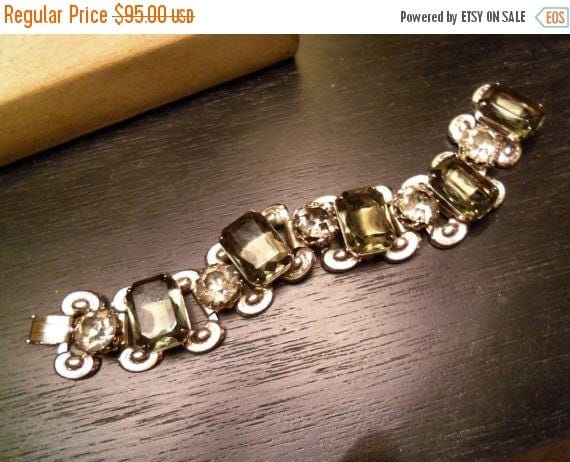 Now On Sale Beautiful Bold Chunky Rhinestone Bracelet Large Grey Stones 1950s 1960s Vintage Victorian Revival Style Hollywood Regency Rockab