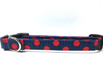 Naked Dog Collar- The Patriotic Polka Dot