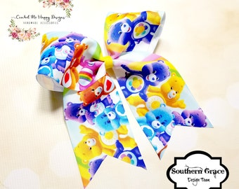 Carebears Cheer Bowl Hair Bow On Clip for Girls/Toddlers