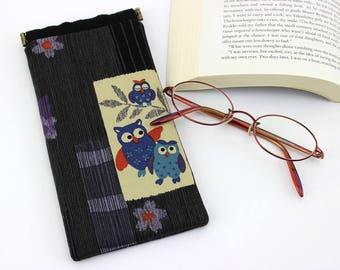 Cute Glasses Case, Kimono Glasses Case, Reading Glasses Case, Case For Glasses, Owls Black