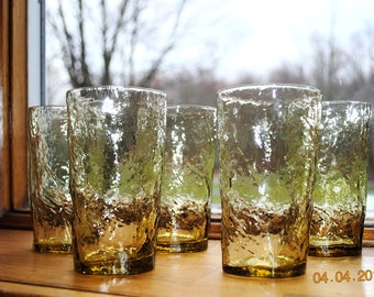 """5 - Morgantown 10 ounce Topaz 5""""  Flat Tumblers in The Crinkle glass Pattern"""