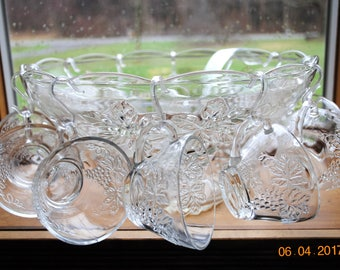 Anchor Hocking Clear Glass Punch Bowl Set 12 Cups, Ladle and Hooks in in The vintage Grape Pattern
