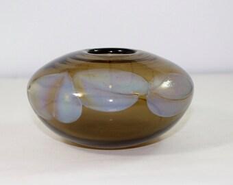 Rochester Folk Art Guild ART Glass Vase  marked RFAG 1977