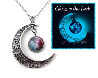 Glow in the Dark Silver Crescent Moon and Glowing Galaxy Necklace Pendant - Glowing Moon Charm - Outer Space Necklace - Glow Jewelry