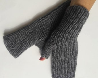 Gray fingerless gloves,Wool arm warmers,Christmas gift