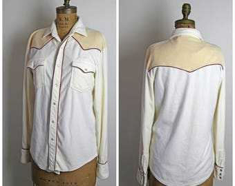 1970s Velour Western Style Button Up