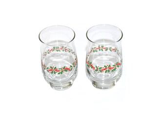 Vintage Christmas Tumblers Glasses Christmas Glasses Christmas Tumbler Glass Holly Red and Green Christmas Drinkware