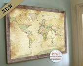 Push Pin Vintage looking World Map, Old World Charm, 24X36 Inches, Keepsake gift, Push Pin Travel, Gift for grandparents, Geneology maps