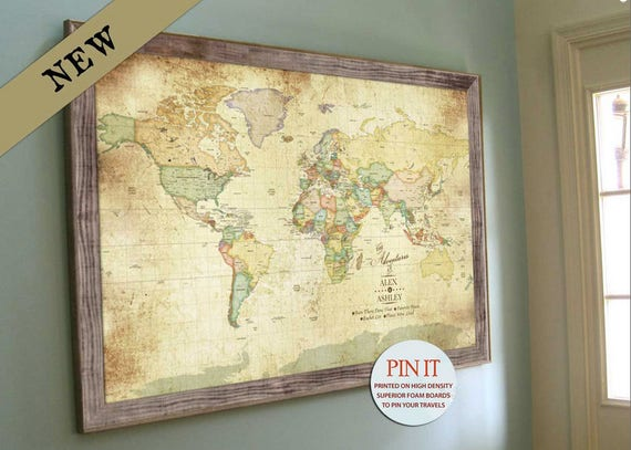 Push Pin Vintage World Map Old World Charm X Inches - 24x36 world map