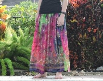 ON SALE Tie Dye Skirt: Long Gypsy Skirt, Boho Maxi Skirt, Sequin Skirt, Festival Clothing, Bohemian Hippie Skirt, Bollywood Indian Floral Sk