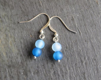 blue frosted bead silver plated hook earrings