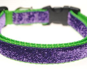 """Lavender Glitter on Lime 3/4"""" Width Adjustable Collar"""