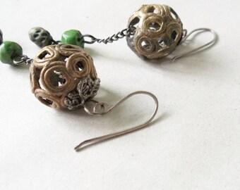 Brass ball drop  earrings