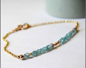 Blue Zircon Gemstone & Goldfill Dainty Bracelet