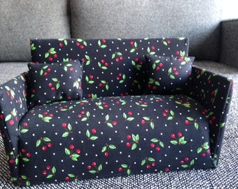Couch & Chair Set for Barbie - Black with Red Berry accents