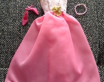 Handmade Formal Barbie Dress, Pink and Gold