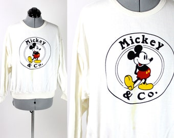 SALE Vintage Retro White Mickey and Co. Sweatshirt Womens Small