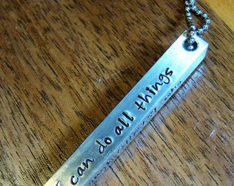 Hand stamped Stainless Steel post necklace Phil 4:13