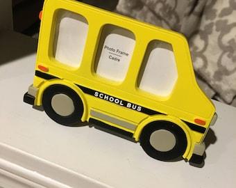 Small yellow school bus photo frame with 3 windows hmk