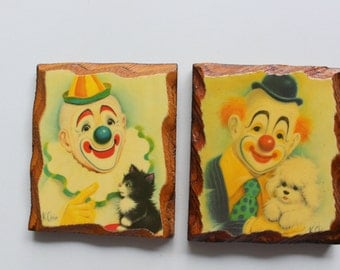 Vintage Clown Wooded Wall Art Set 1980s
