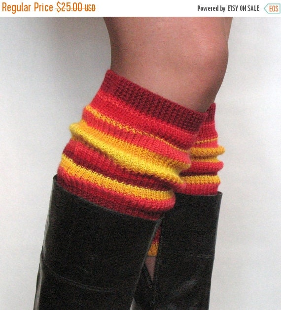 Boot Cuff Boot Toppers Leg Warmers Red Orange Yellow Boot Socks Cable Striped Multicolored