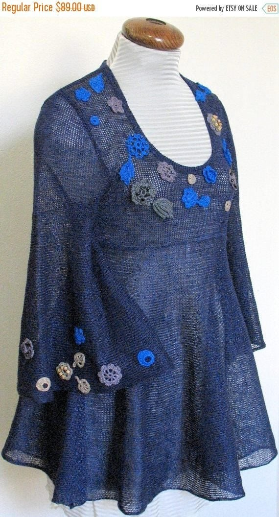 Linen Top Tunic Sweater Clothing Blue Beige Grey knitted and Crocheted Flower