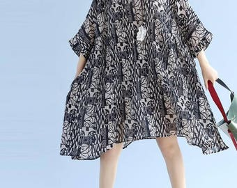 Summer oversized dress loose large size Bat sleeves Pleated dress