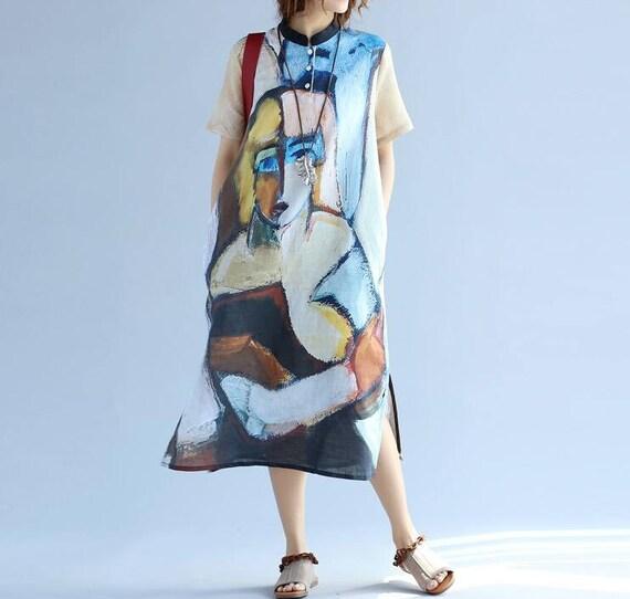Women Loose Fitting summer dress cotton and linen sundress