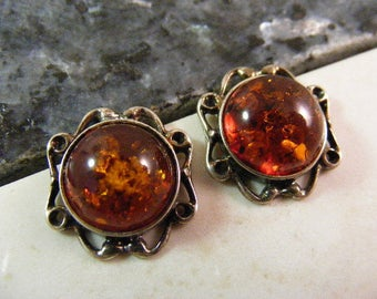 Vintage Glowing Golden Baltic Amber Pierced Earrings in Sterling..... Lot 5104