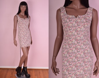90s Floral Print Denim Dress/ US 5/ 1990s/ Tank/ Sleeveless