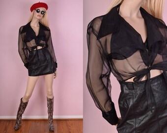 80s Sheer Tie Up Cropped Top/ Medium/ 1980s/ Vintage/ Long Sleeve/ Blouse