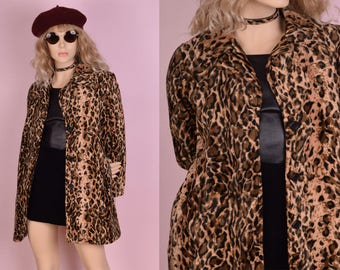 90s Fuzzy Animal Print Coat/ Small/ 1990s/ Jacket/ Spotted